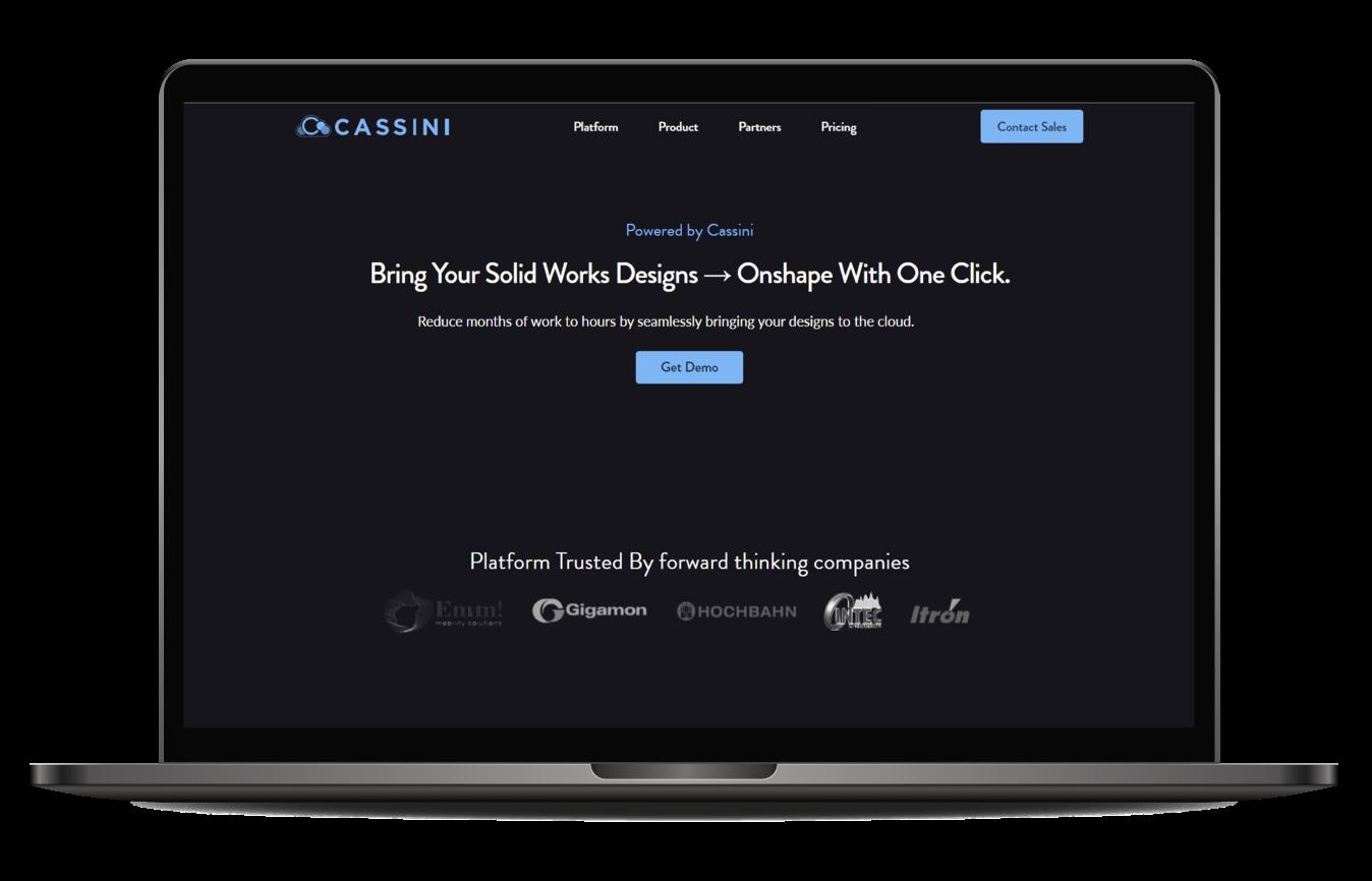 mockup image of Casssini website