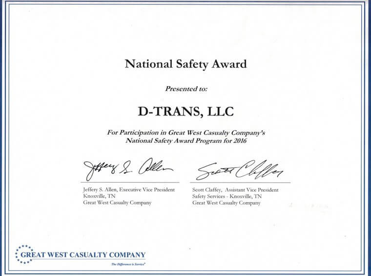 National Safety Award given to D-Trans