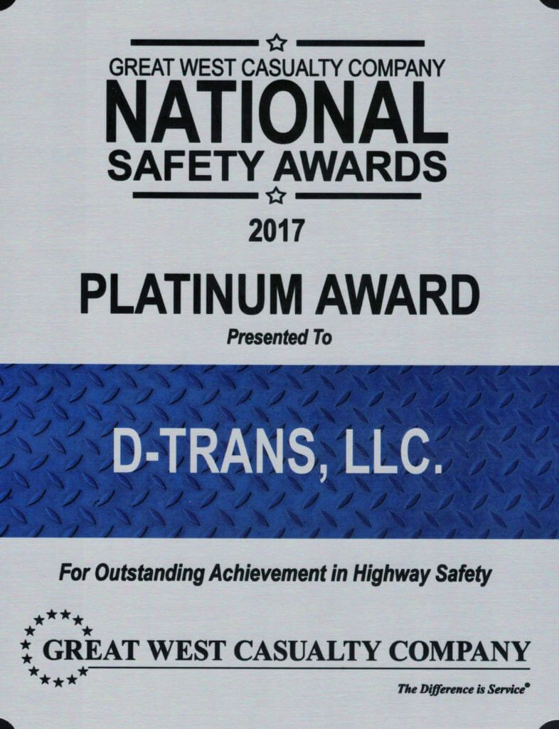 Great West Casualty Company National Safety Awards given to D-Trans