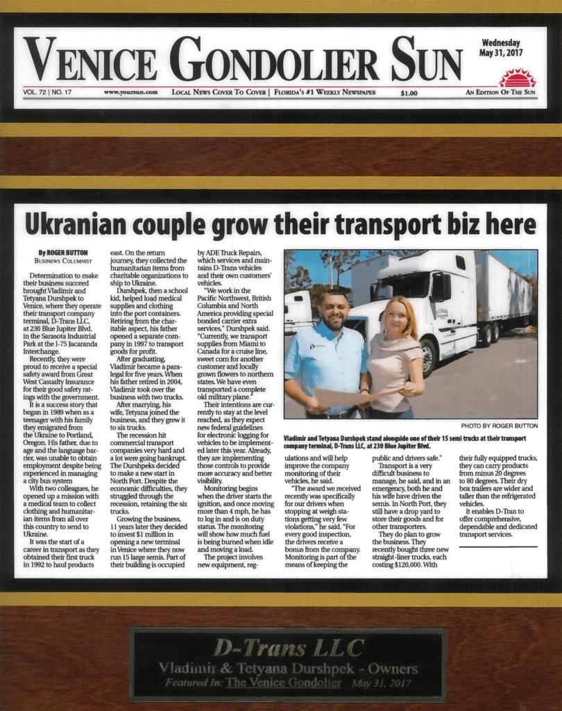 Ukrainian couple grow their transport biz here