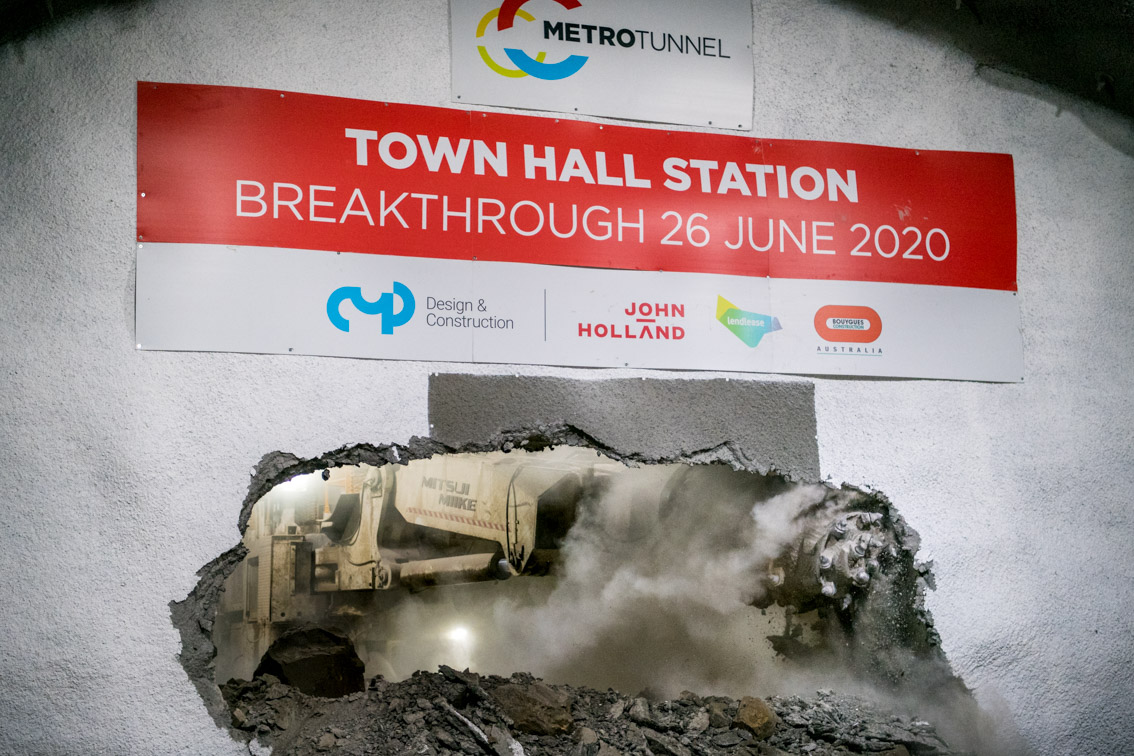 WATCH: Roadheader Break-Through at Melbourne Metro's Town Hall Station