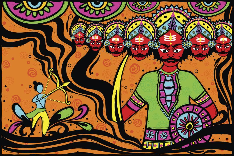 Artwork depicting Lord Ram fighting Raavan