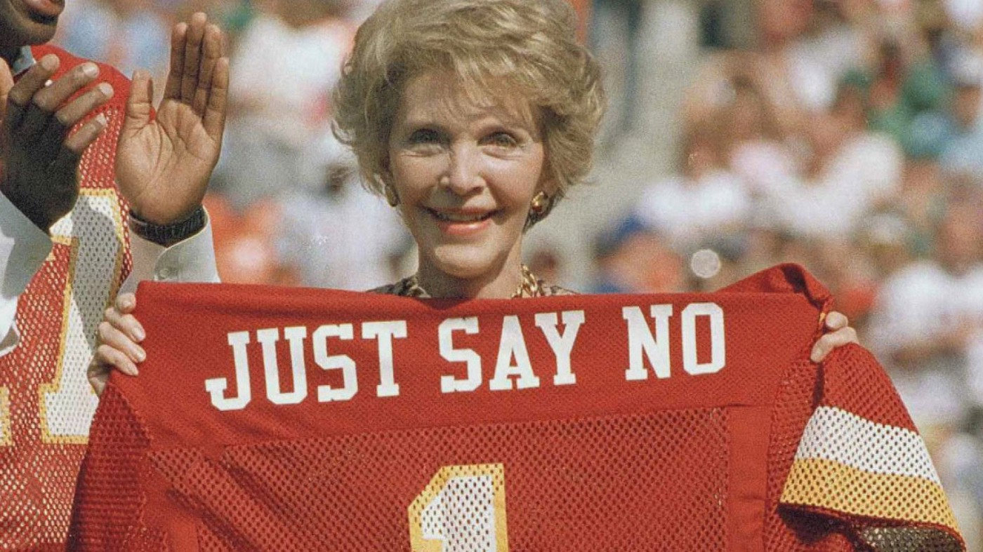 Former First Lady of the United States Nancy Reagan in support of her 'Just Say No' Campaign