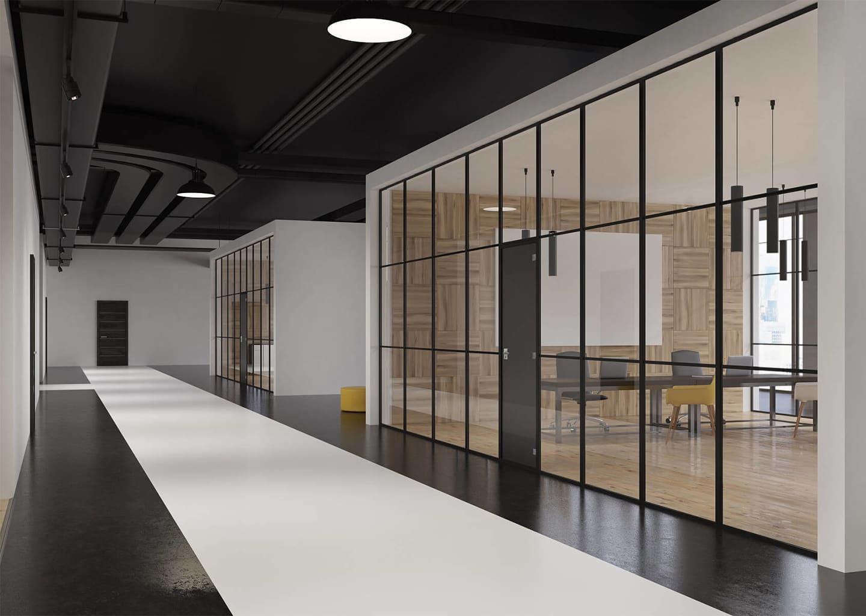 FINELINE BLACK Edition: Glastrennwand mit optionaler Tür