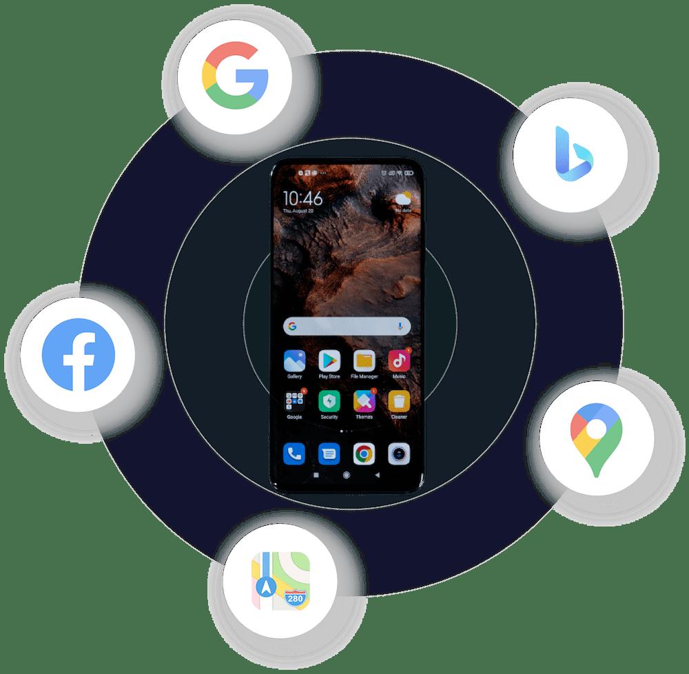 Smartphone mit Apps, die für lokale Sichbarkeit sorgen