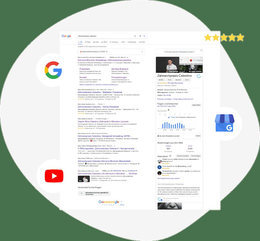 Google Resultpage mit den verschiedenen Produkten von Google