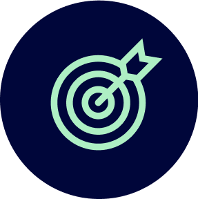 Icon of a arrow hitting the centre of a target