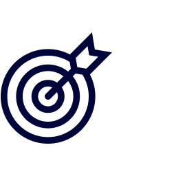 Icon of a target with an arrow hitting the centre