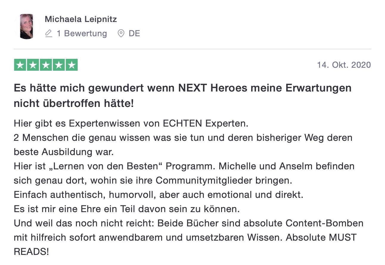 Net Heroes Kundenstimme Michaela Leipnitz