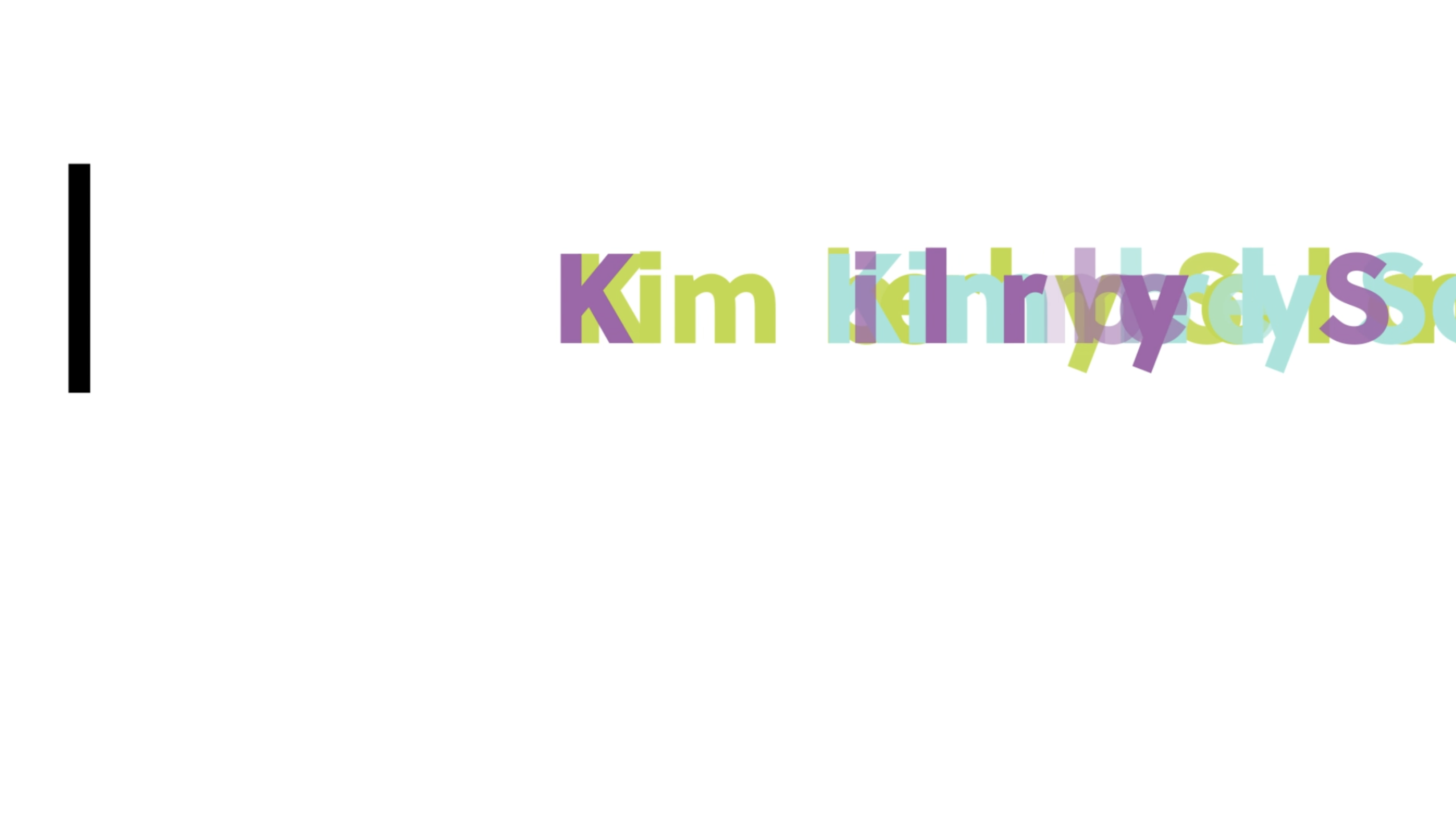 A still frame of an animation revealing Kimberly Solon's logotype.