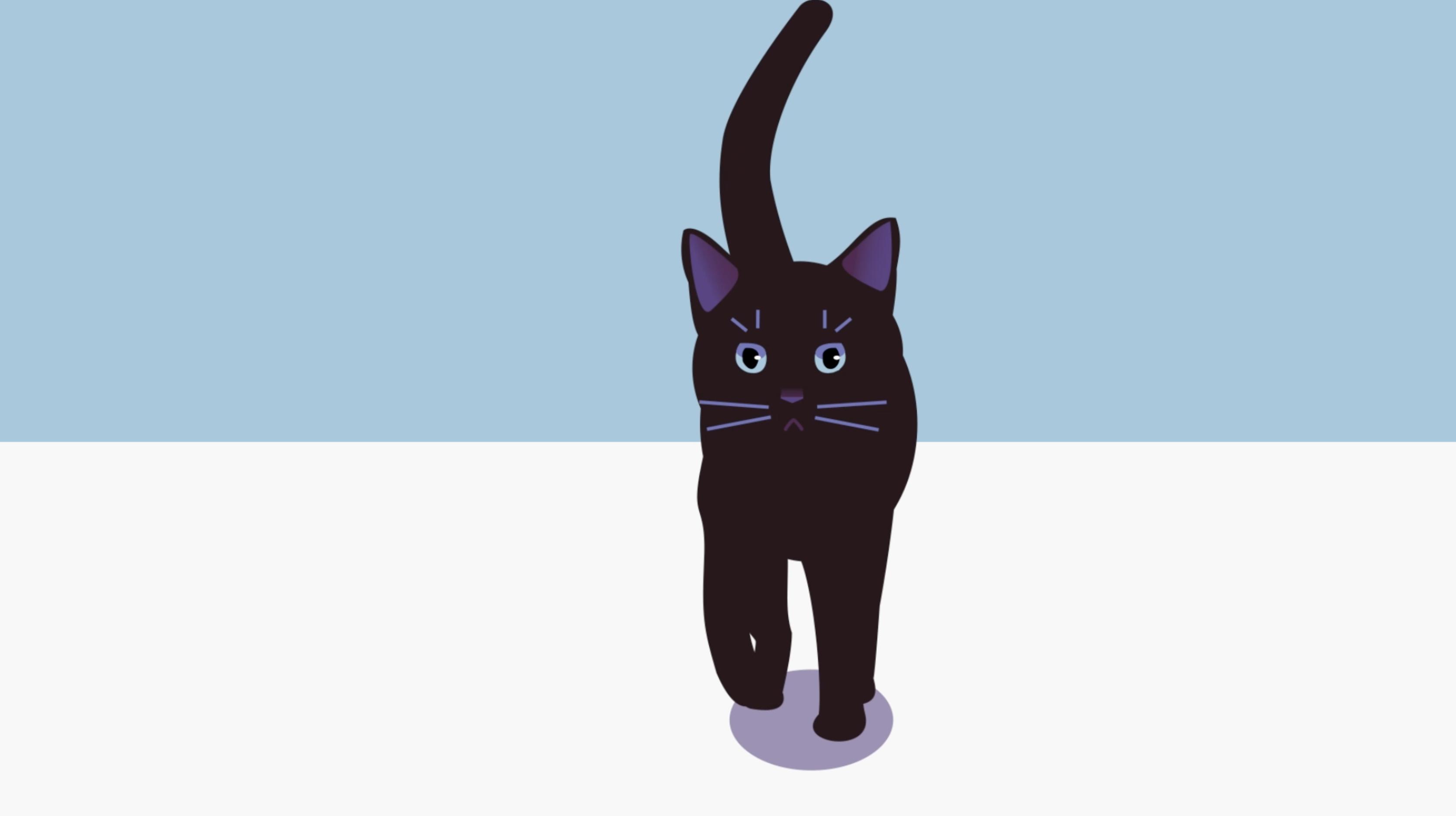 Still frame of a dark cat walking towards the camera