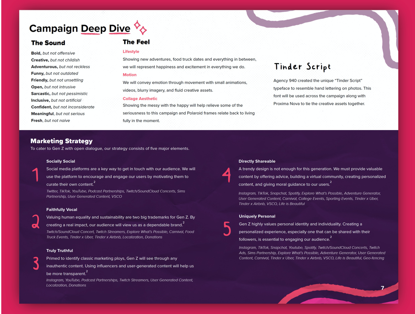 A page showing excellent copywriting and editing abilities that fit within the style of the Tinder plans book