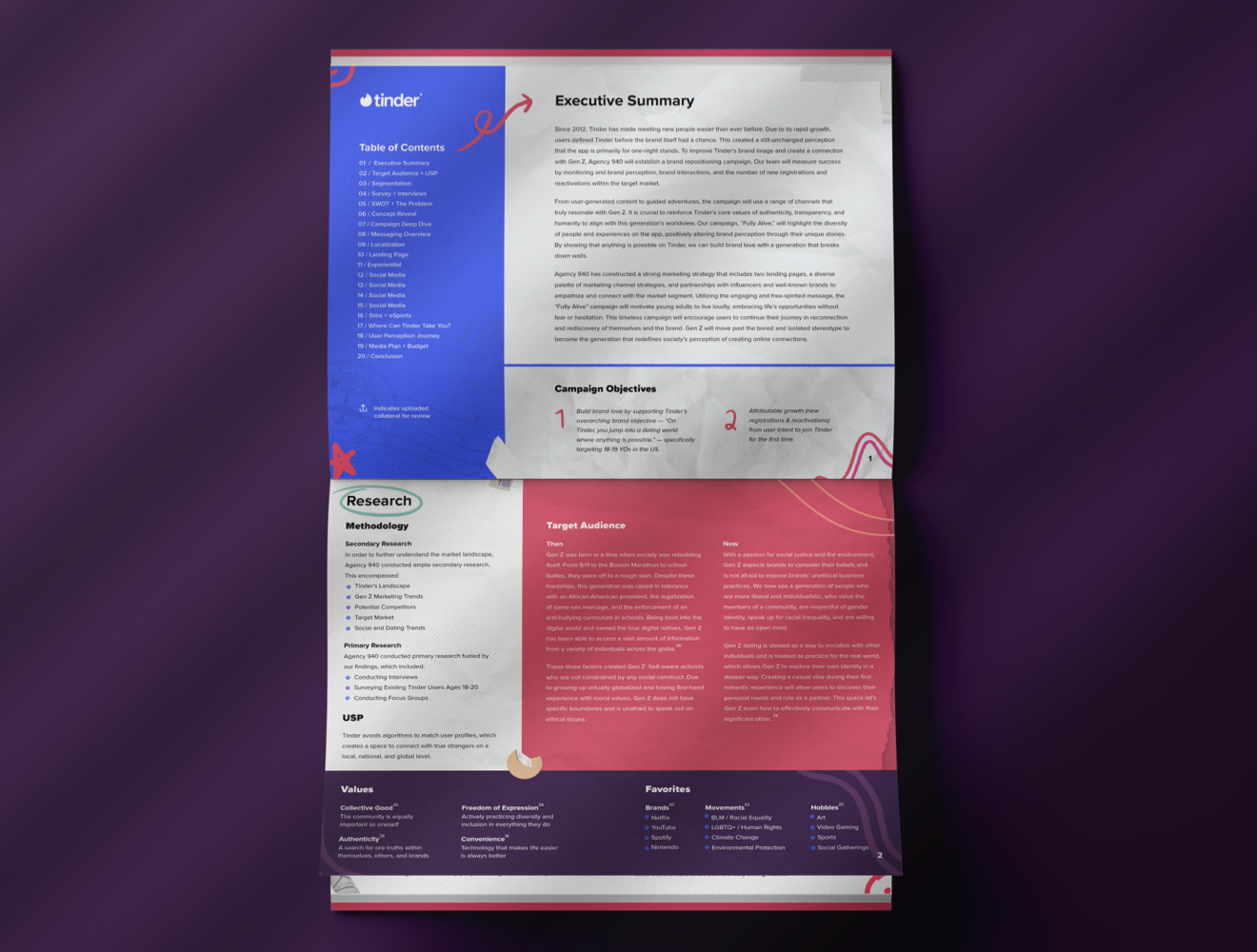 A mockup of two pages of the plans book demonstrating use of research, the design process, and a thorough understanding of the client's goals