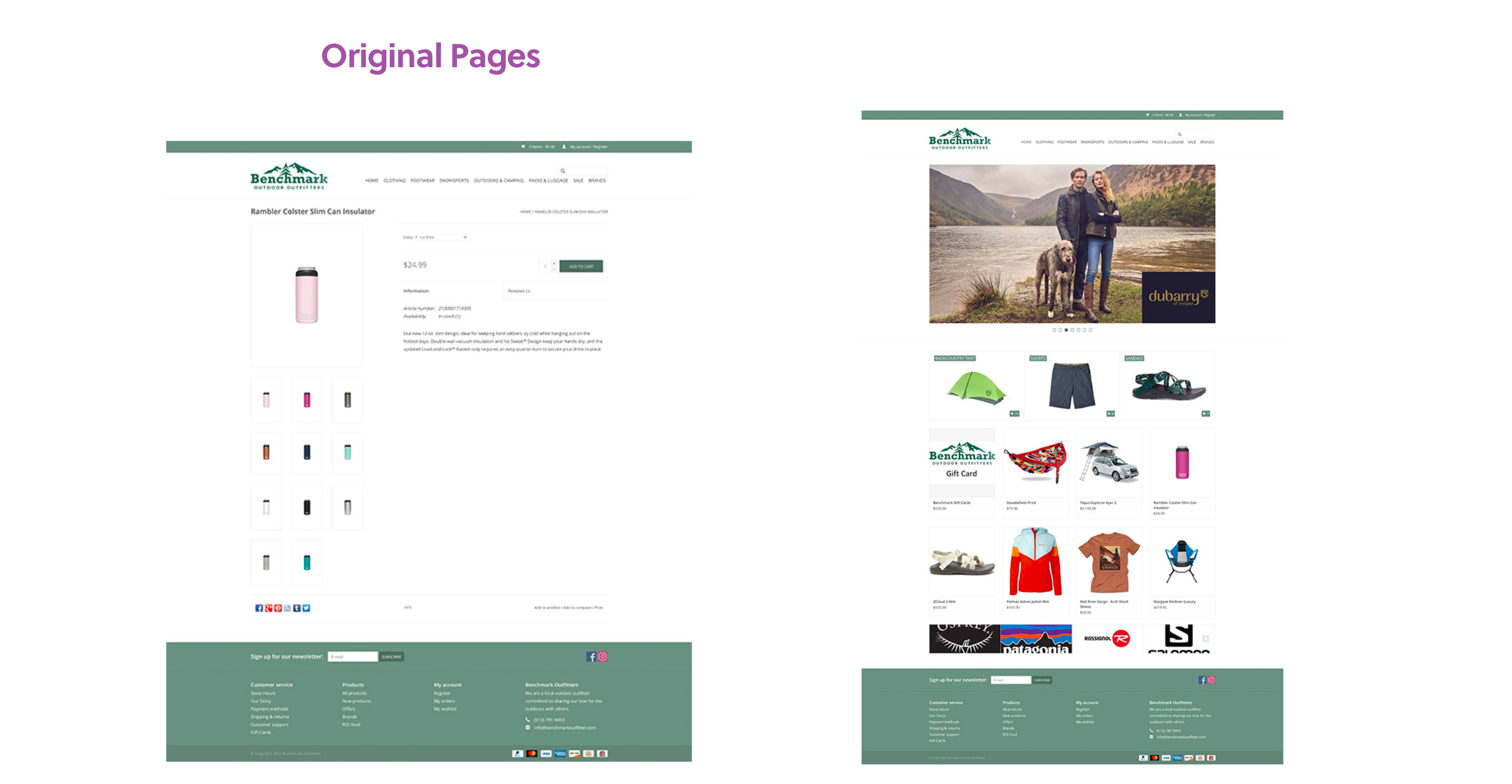 The Original Benchmark Outfitters site before redesign