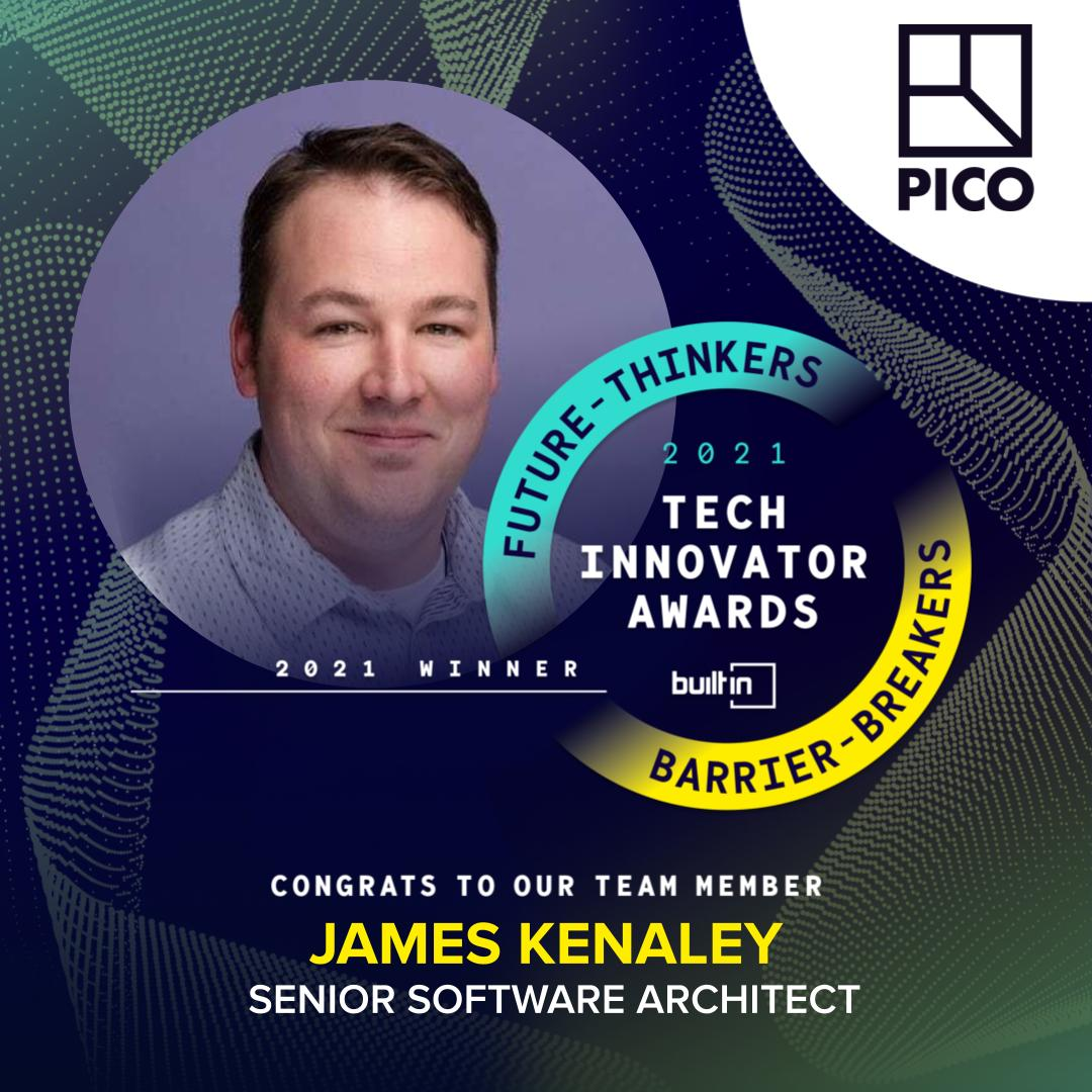 James Kenaley wins BuiltIn 2021 Tech Innovator Award