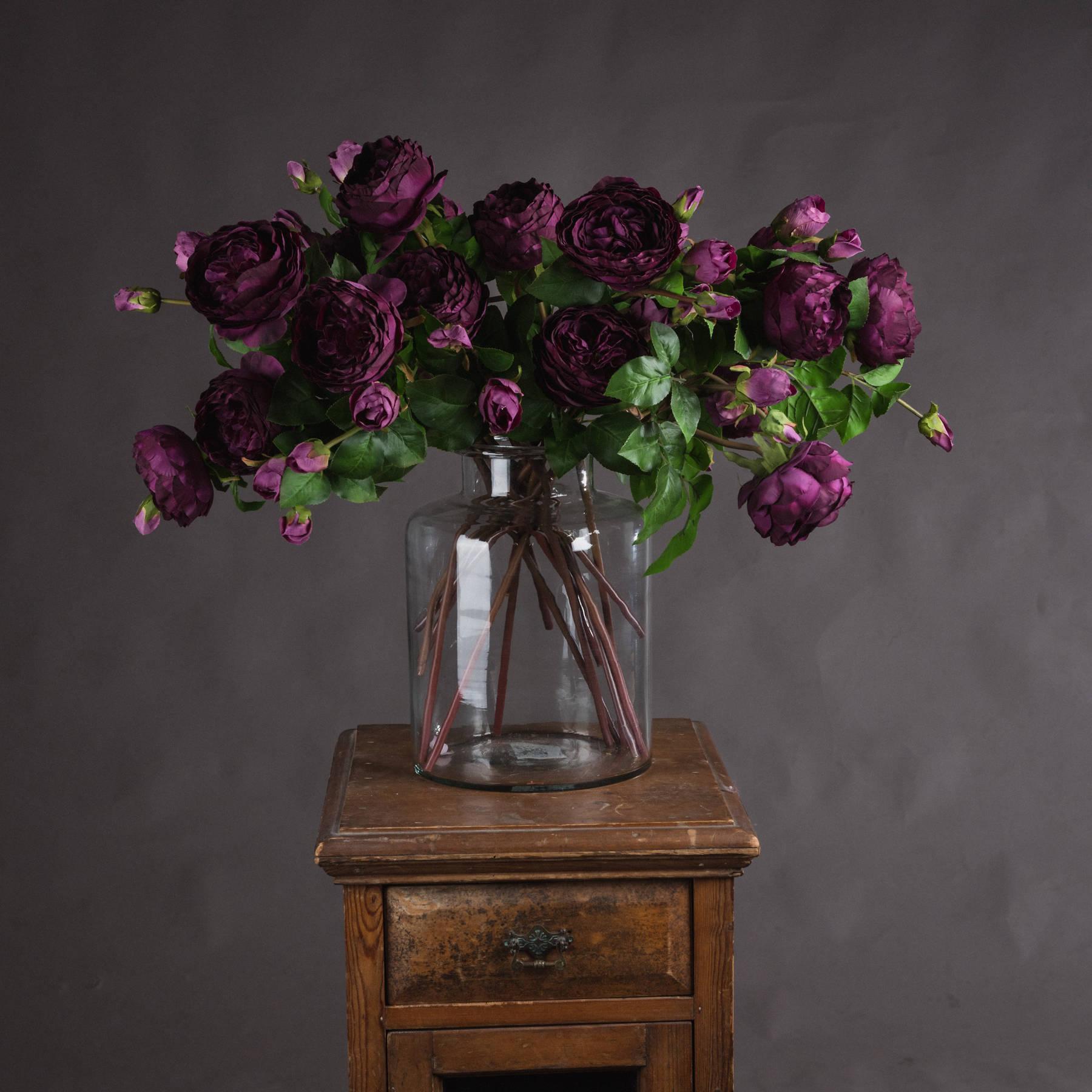 Deep Purple Wedding Peony Rose Spray