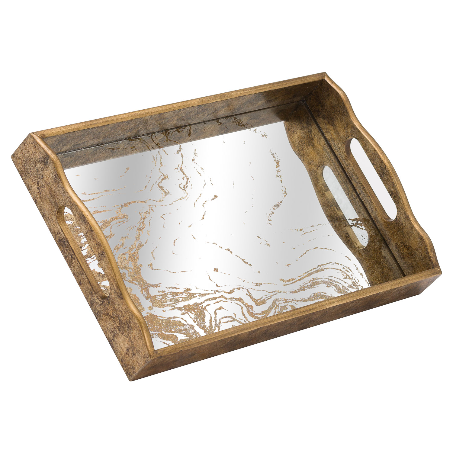 Augustus Mirrored Tray With Marbling Effect