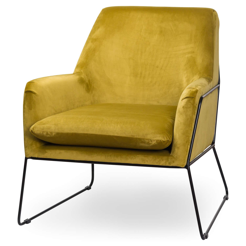 Eva Framed Mustard Velvet Club Chair