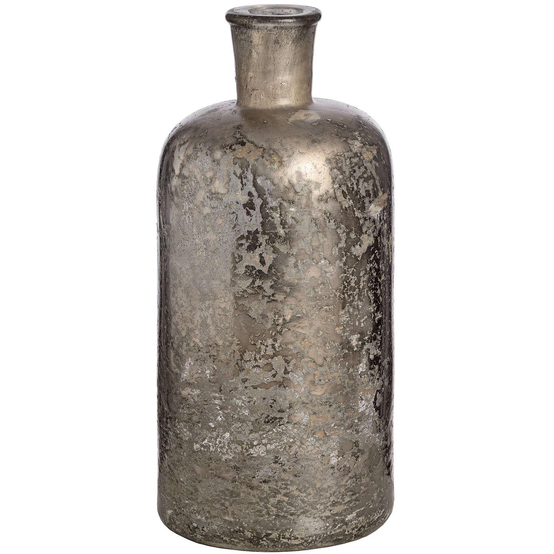 Antique Silver Effect Glass Bottle Vase