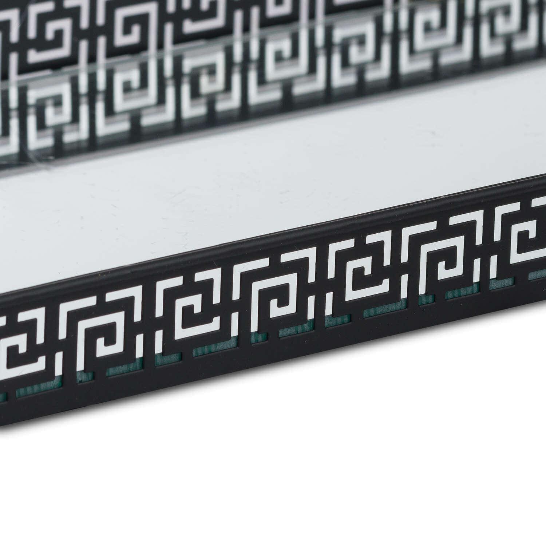 Set Of Two Rectangular Aztec Black Mirrored Trays