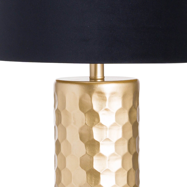 Jem Honey Comb Gold Table Lamp With Black Velvet Shade