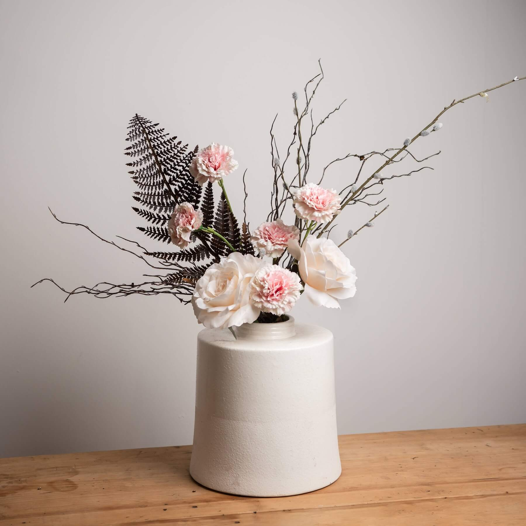 White With Grey Detail Large Cylindrical Ceramic Vase