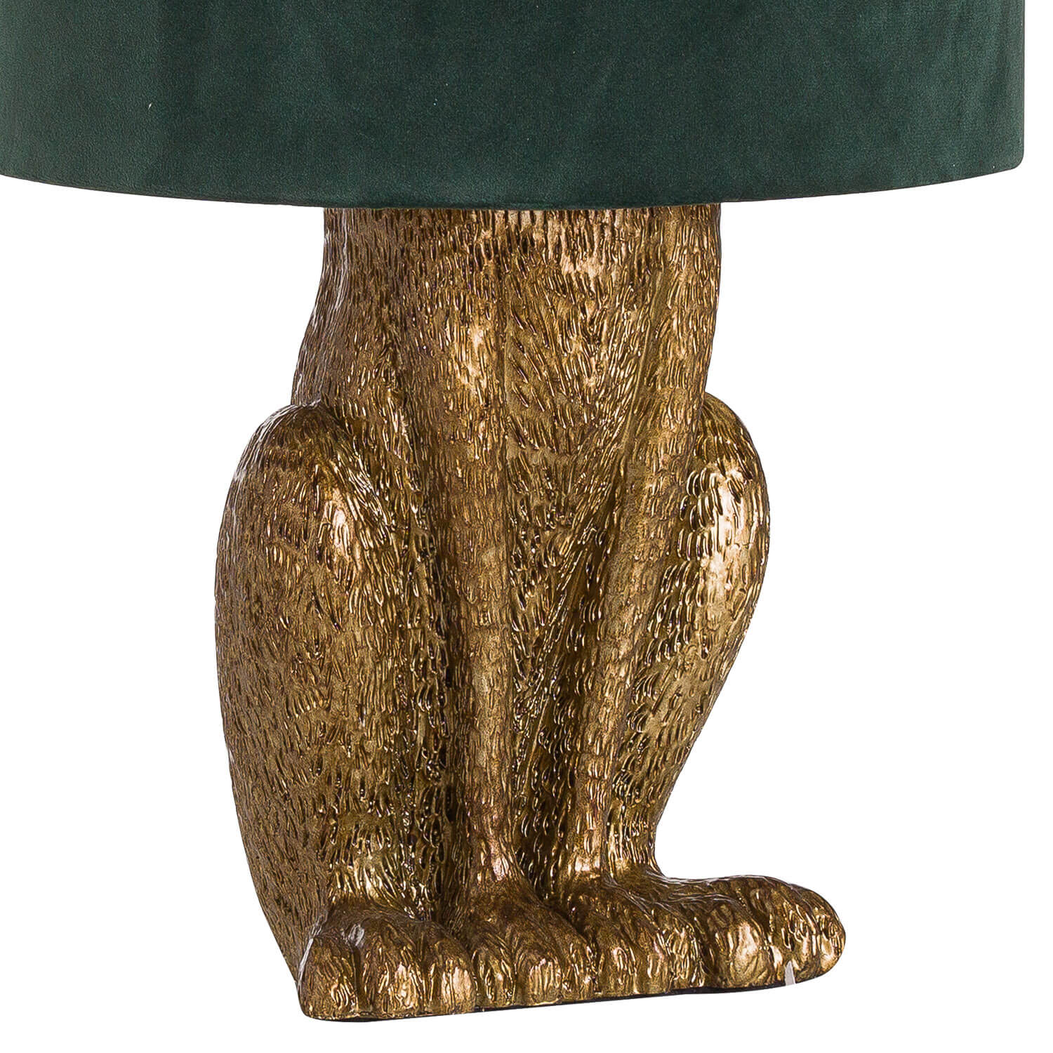 Antique Gold Hare Table Lamp With Green Velvet Shade