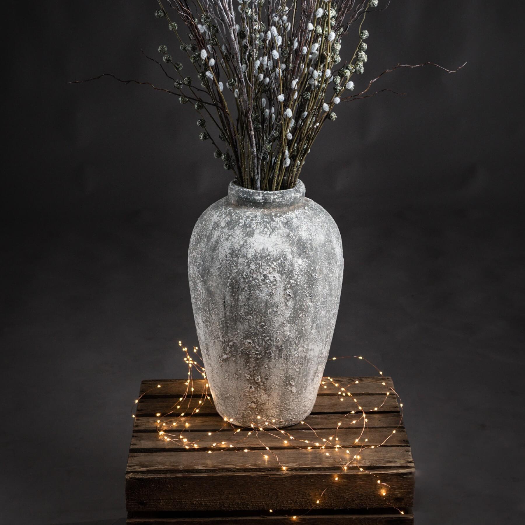 Aged Stone Tall Ceramic Vase