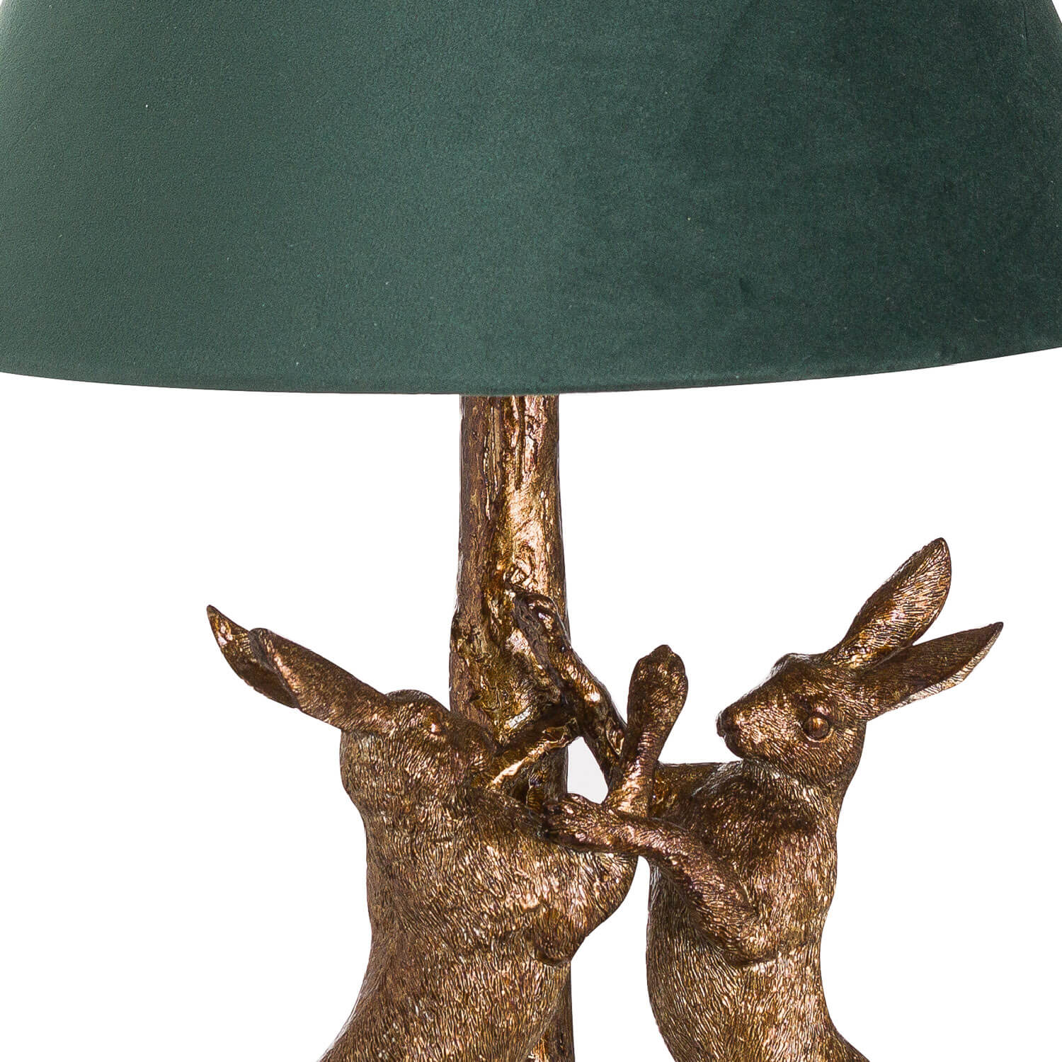 Antique Gold Marching Hares Lamp With Green Velvet Shade