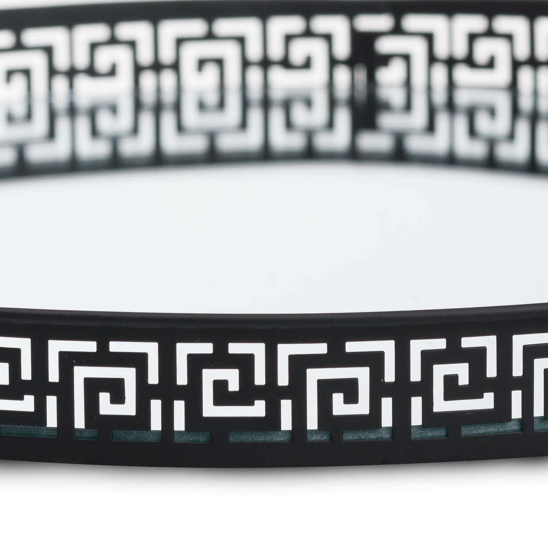 Set Of Two Circular Aztec Black Mirrored Trays