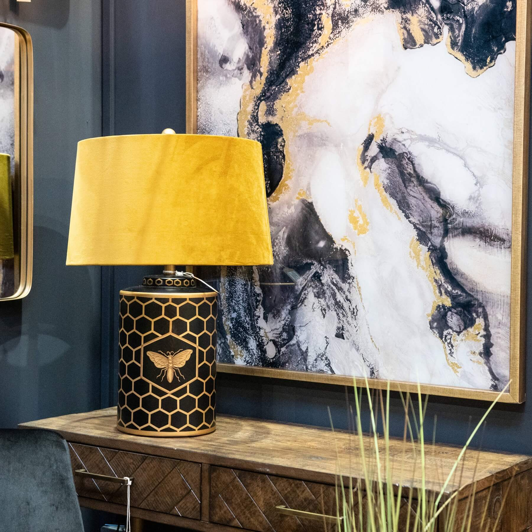 Harlow Bee Table Lamp With Mustard Shade
