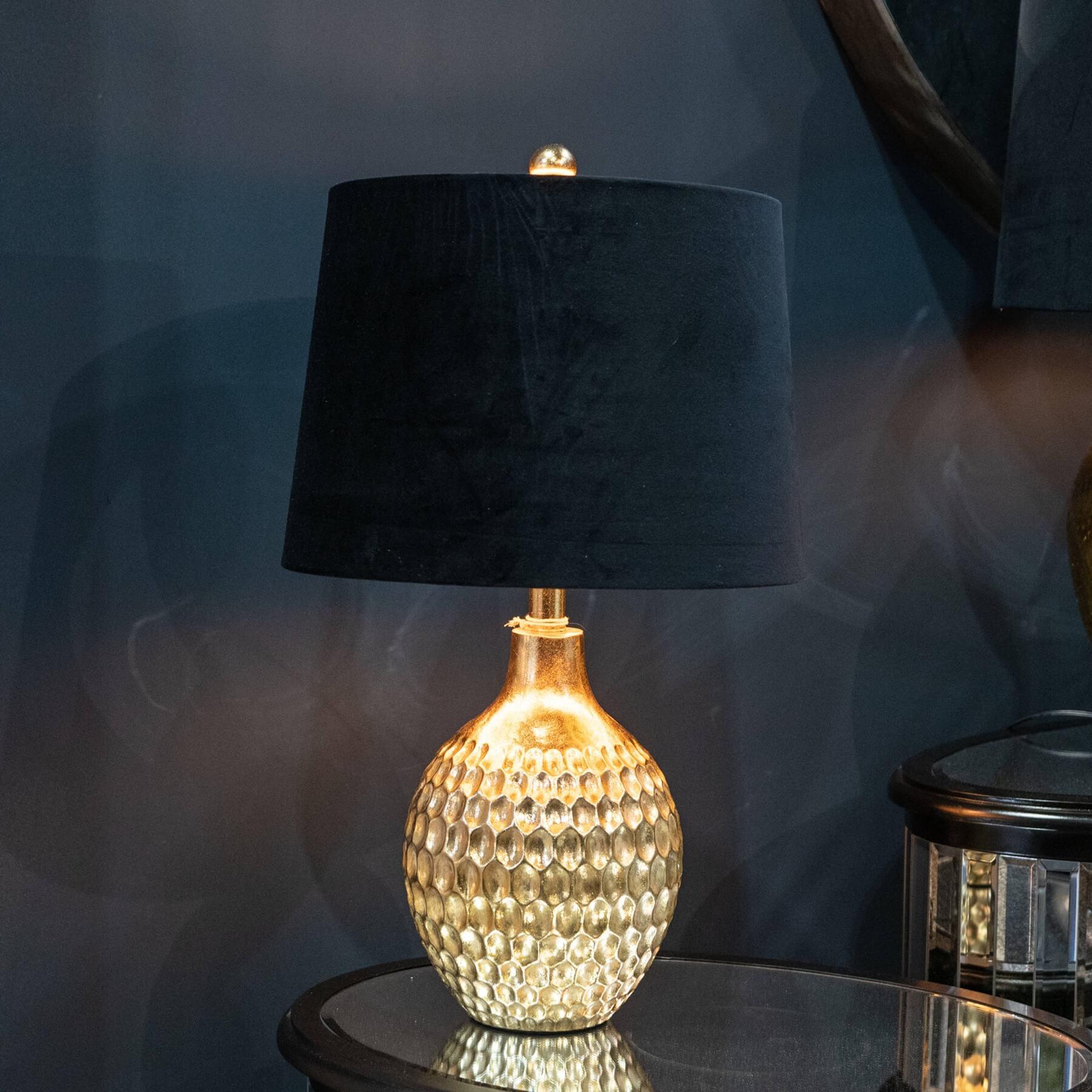 Vincent Gold Base Table Lamp With Black Velvet Shade