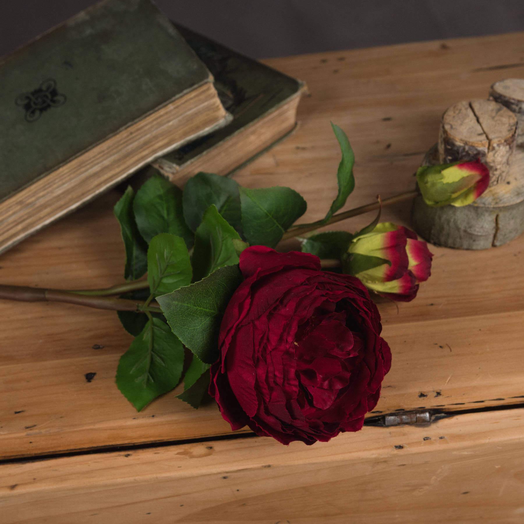 Deep Red Wedding Peony Rose Spray