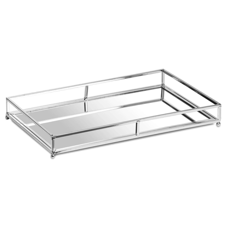 Set Of Two Rectangular Silver Bar Trays