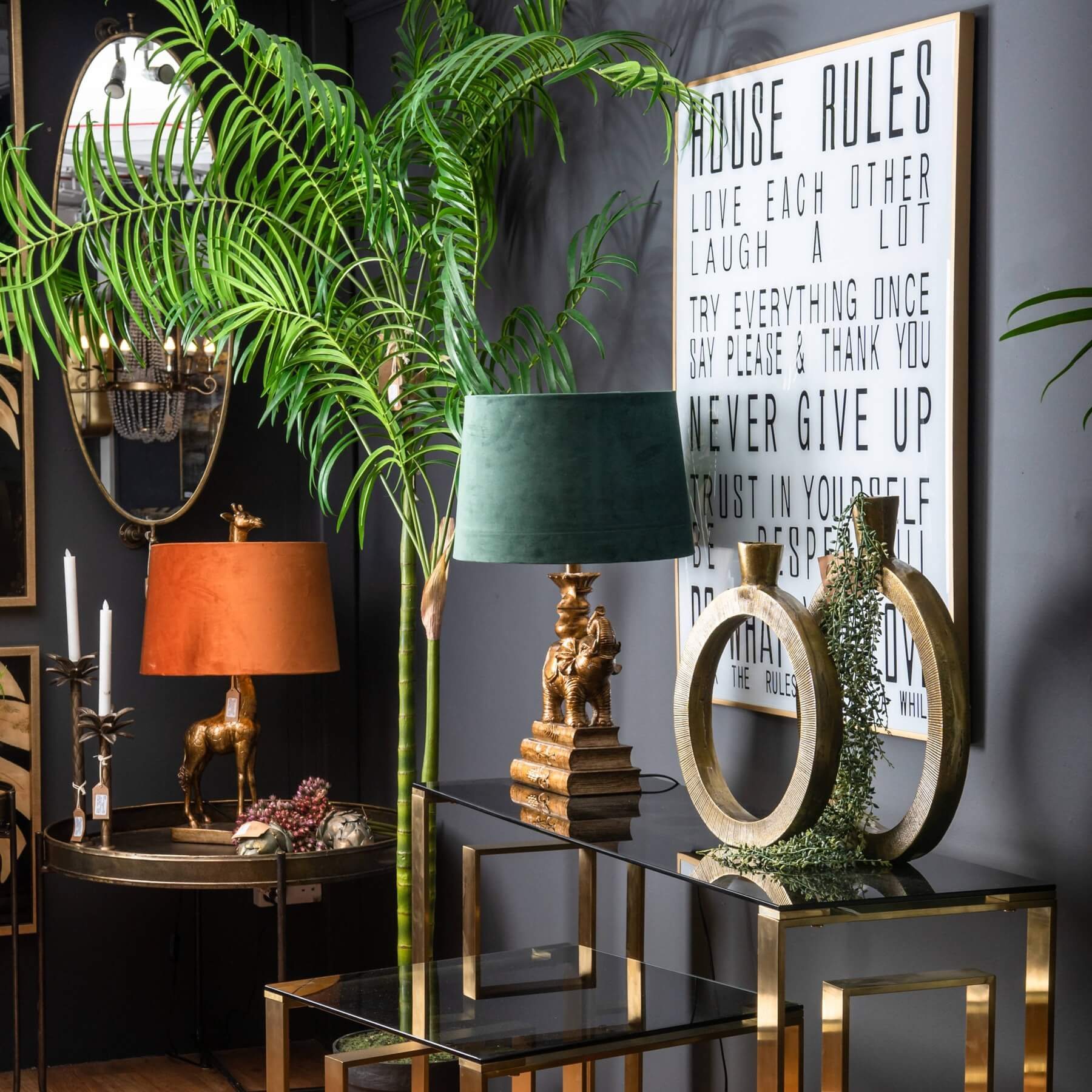 Antique Gold Elephant Table Lamp With Emerald Green Shade
