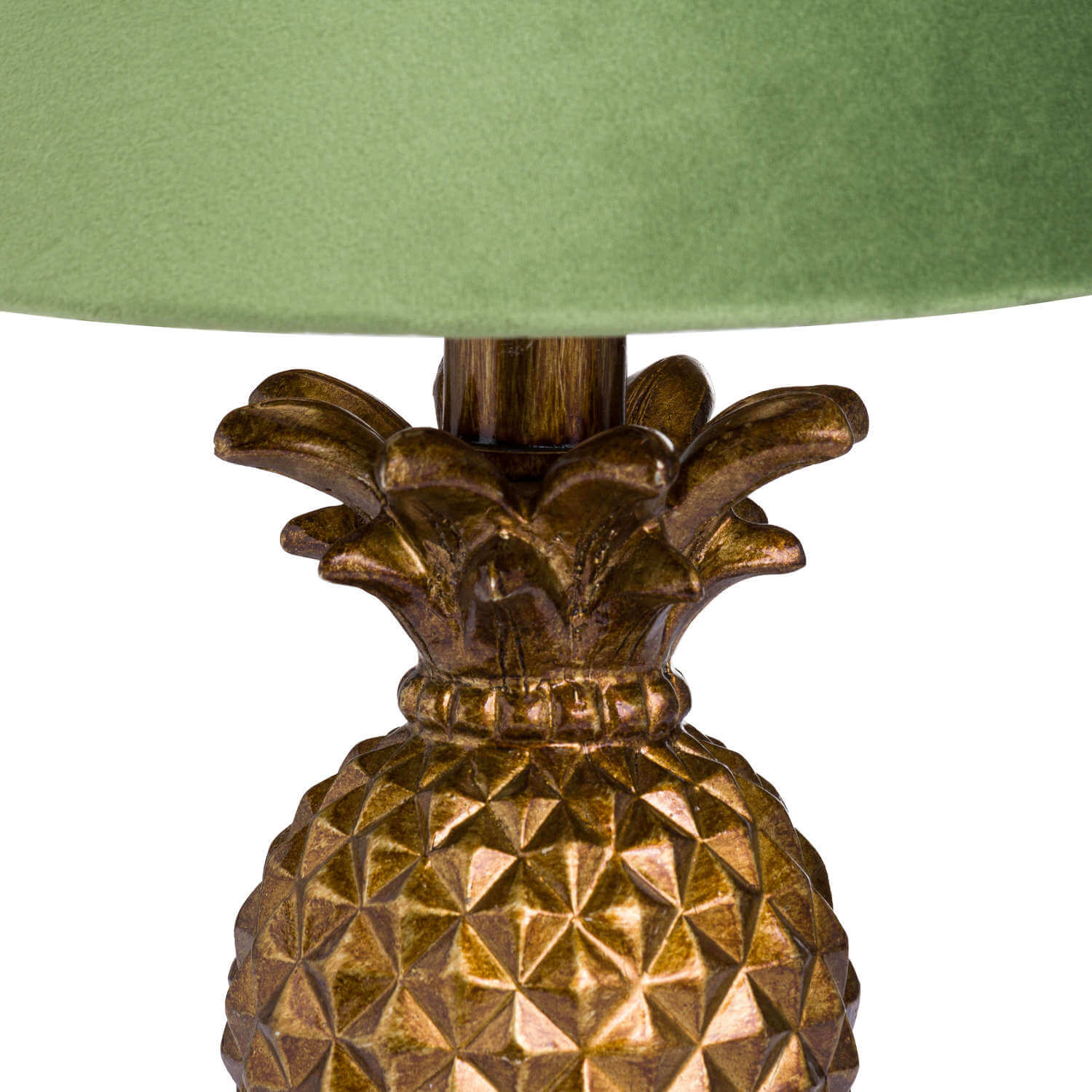 Antique Gold Pineapple Lamp With Artichoke Green VelvetShade