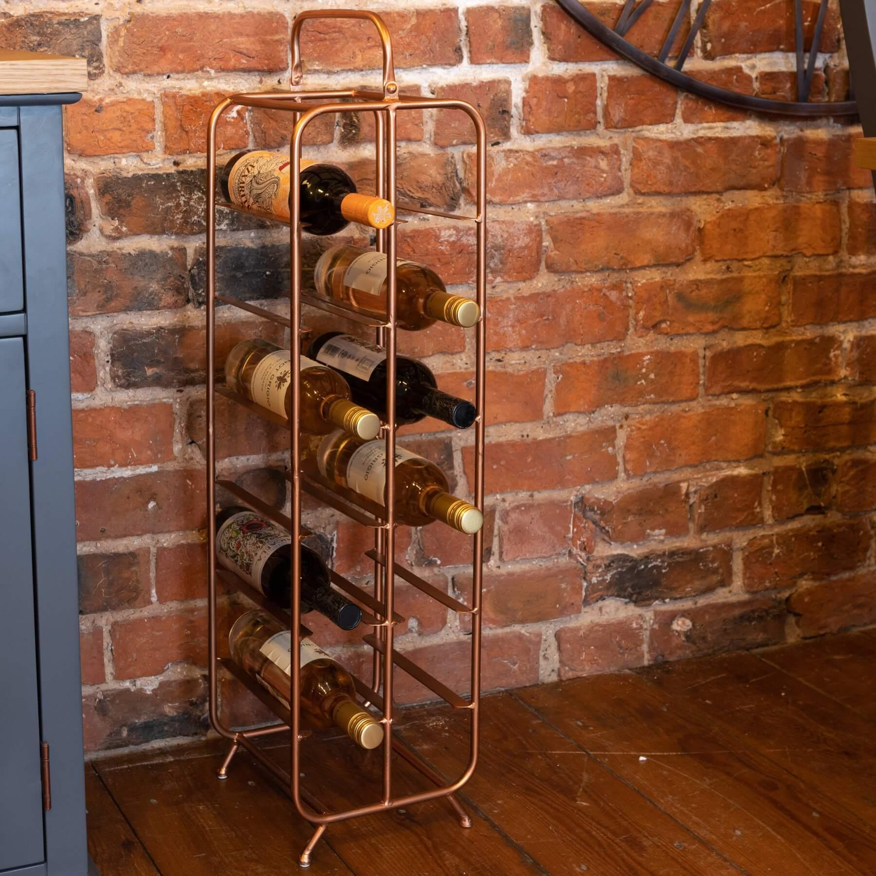 Industrial Inspired Copper Finished 12 Bottle Wine Holder
