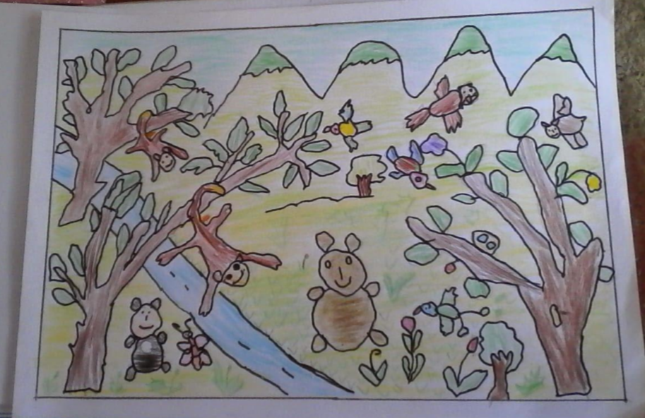 Nature story sumbission: Child's drawing with rainforest animals. Birds flying above trees and monkeys hanging from branches.