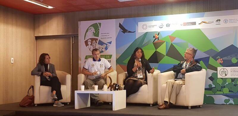 Rainforest Partnership's Peru Director, Fanny Cornejo, speaking on a panel at the 3rd Congress of Protected Areas in Latin America.