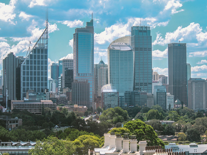 Sydney city skyscrapers on blue sunny day