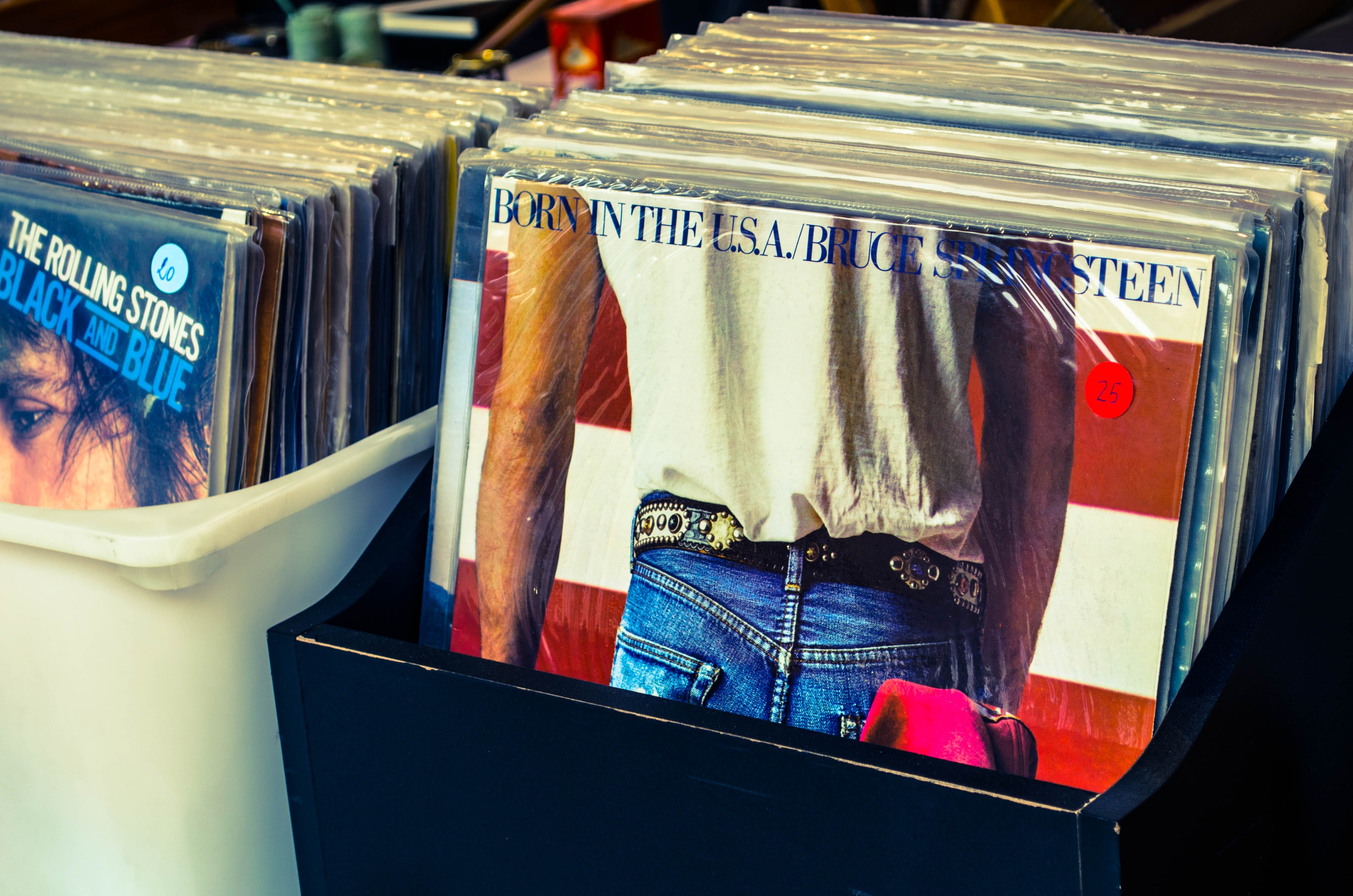 An assortment of record albums, with Bruce Springsteens 'Born in the U.S.A' most prominent