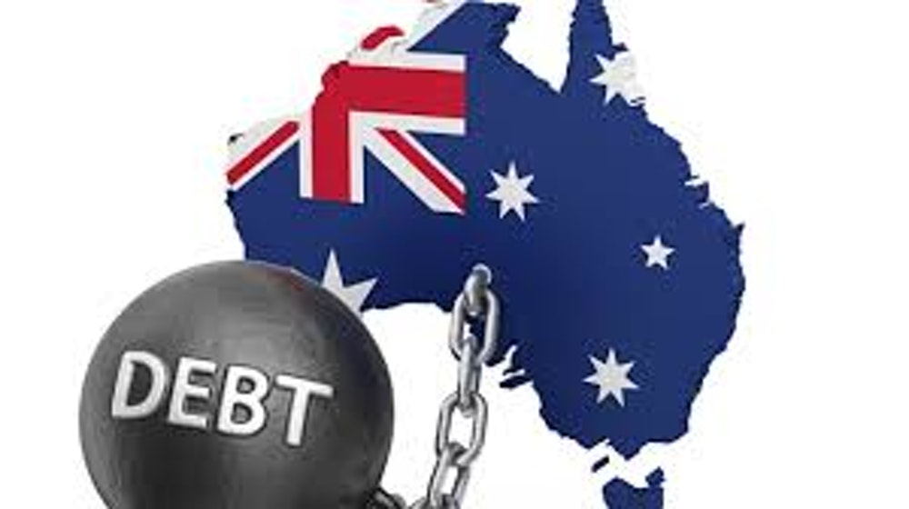 Australia being chained down by a big metallic ball saying 'debt'