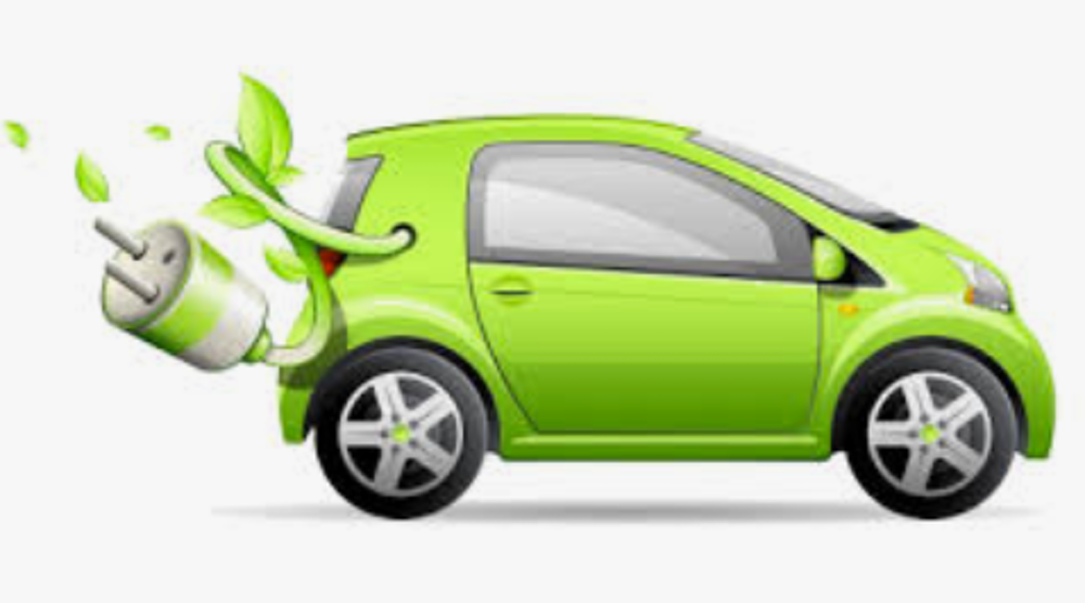 Green electric vehicle cartoon with a plug flying out the back