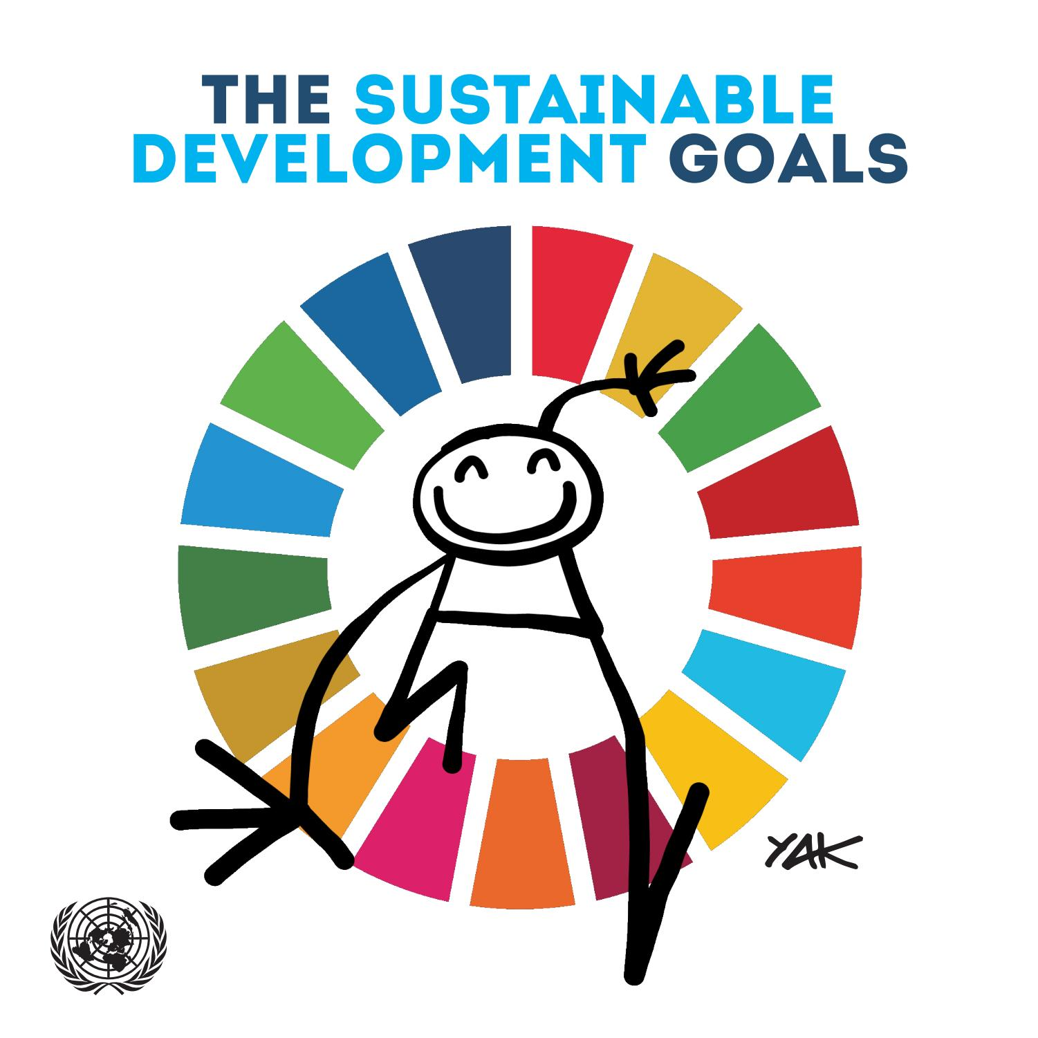 A marker-drawn smiling stick man clambering through a rainbow wheel representing the 27 UN Sustainable Development Goals
