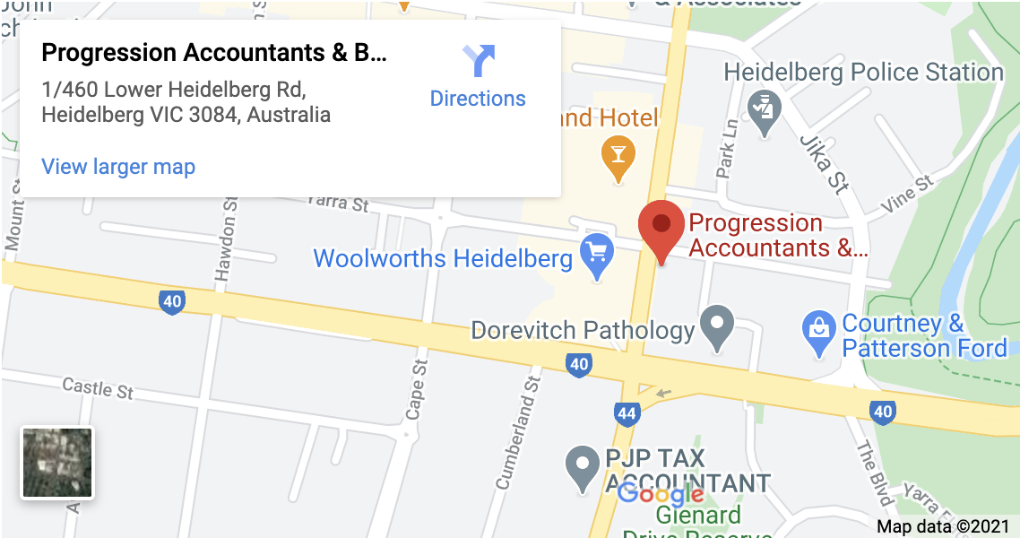Map of the Progression Group office in Melbourne
