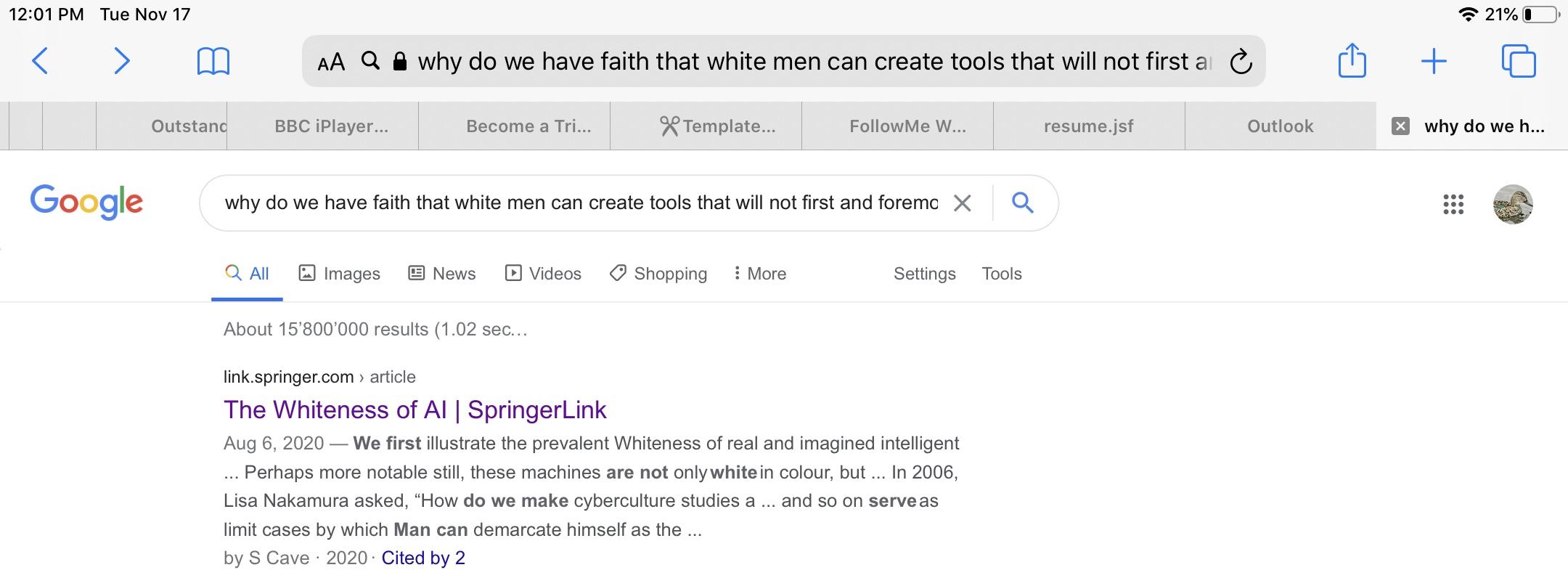 Figure 1. Screenshot, Google search, November 17, 2020