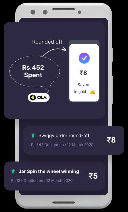Round up your savings mobile mocku