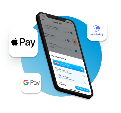 Horago payment with Apple Pay, Google Pay, Mastercard, Visa or MobilePay.