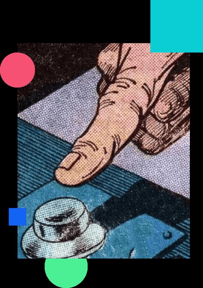 Finger pressing a button