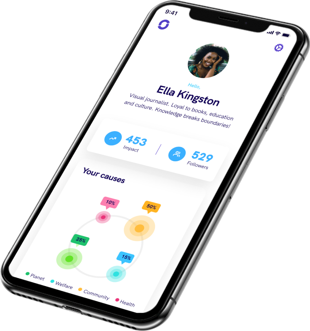A screenshot of the app featuring a user called Ella Kingston. We can see which causes she has supported, her impact, and number of followers